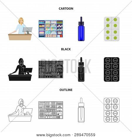 Vector Illustration Of Retail And Healthcare Symbol. Collection Of Retail And Wellness Vector Icon F