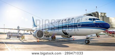 Boeing 737-8 Max China Southern, Airport Pulkovo, Russia Saint-petersburg. 02 June 2018