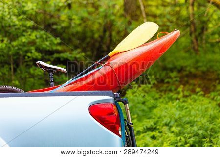 Water Sport Objects And Accessories Concept. Detailed Closeup Of Kayak Prow Object.
