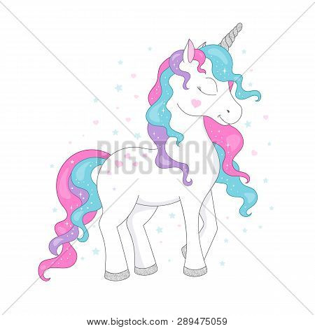 Unicorn Drawing For T-shirts. Design For Kids. Fashion Illustration Drawing In Modern Style For Clot