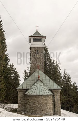 Chapel And View Tower On Kozubova Hill In Moravskoslezske Beskydy Mountains In Czech Republic During