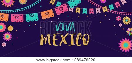 Viva Mexico - Mexican Fiesta Banner And Poster Design With Flags, Flowers, Decorations