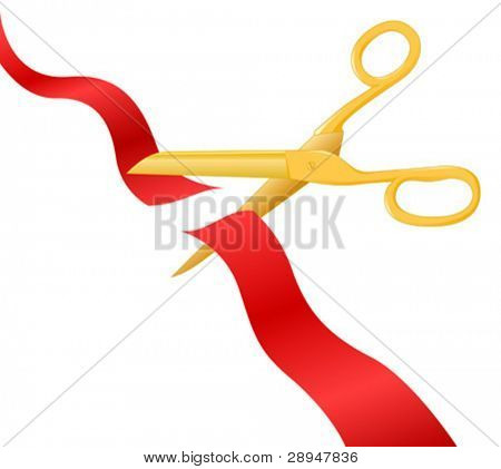 Vector illustration of a ribbon cut through