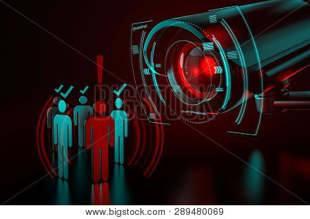 Giant Camera Checkes Group Of People As A Metaphor Of Ai-driven (artificial Intelligence) Surveillan