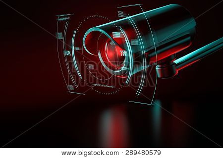 Security Surveillance Camera With Interface Or Hud Around It On An Even Background. 3d Rendering