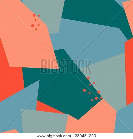 Seamless Abstract Pattern With Polygons And Dots. Pink, Beige, Blue Colors. Avan-garde Cute Backgrou