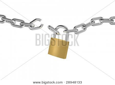 3D illustration of a broken chain with padlock on white background