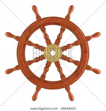 Steering wheel isolated. Clipping path included. Computer generated image.