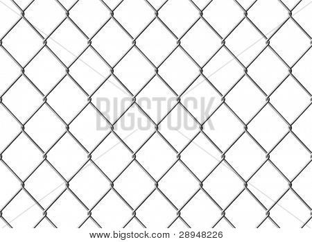 Isolated Chain link fence. Seamless texture. Computer generated image.