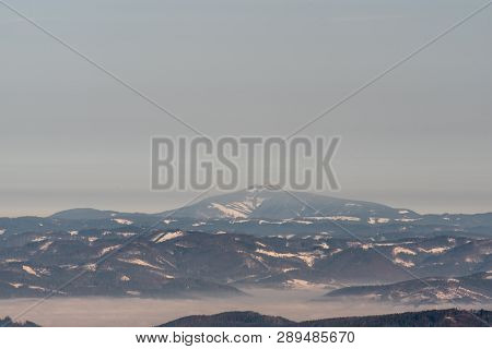View To Lysa Hora Hill In Moravskoslezske Beskydy Mountains From Horna Luka Hill In Mala Fatra Mount