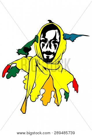 Clown in colorful clothes on a white background