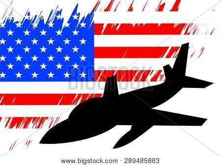 Military aircraft against background of American flag