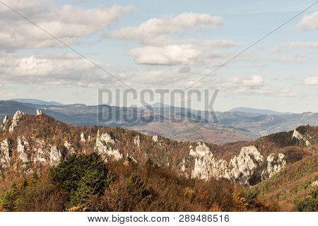 View To Moravskoslezske Beskydy Mountains From Kecka Hill In Sulovske Skaly Mountains In Slovakia Du