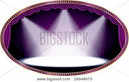 vector oval empty stage with purple curtain and three spots, eps 10 file