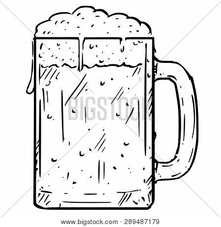 Cartoon Illustration Of Glass Beer Mug, Pint Half-litre Or Half Of Liter.