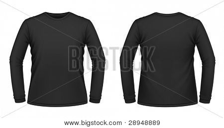 Vector illustration of black long-sleeved T-shirt