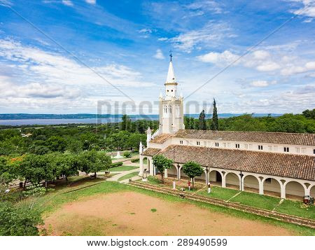 Aerial View Of The Catholic Church Iglesia Virgen De La Candelaria Of Aregua In Paraguay Overlooking