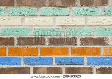 Close Up Of Colorful Background Of Brick Wall