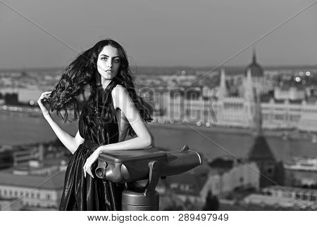Sexy Girl In Elegant Dress. Luxury Woman In Evening Dress In City. Fashion And Beauty Of Business La