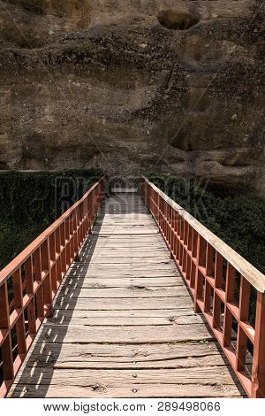 Bridge To The Monastery Of Varlaam Of The Meteora Eastern Orthodox Monasteries Complex In Kalabaka,