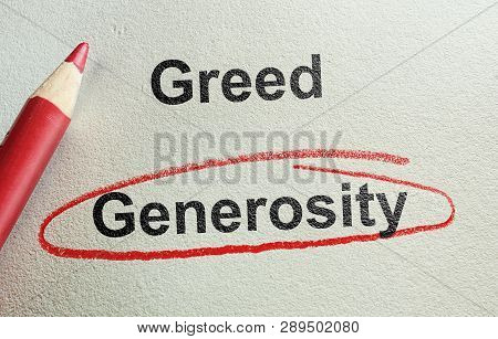 Generous Text Circled In Red Below Greed