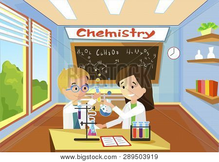 Bright Comfortable Classroom Lesson Chemistry Conduct Experiment Vector Flat Illustration. Boy With