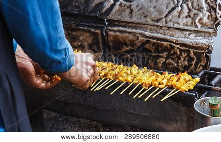 Appetizer Dish Of Traditional Thai Street Food Recipe, Pork Satay Grilled Marinated Pork Skewer Stic