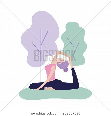 Woman Training Yoga Exercise Posture Vector Illustration