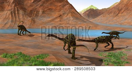 Anchisaurus Dinosaurs 3d Illustration - Prosauropod Anchisaurus Dinosaurs Gather Together To Keep Wa