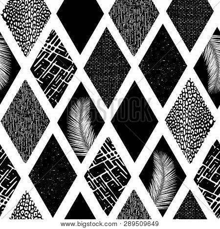 Monochrome Collage Rhombus Shapes Seamless Vector Pattern. Contemporary Abstract Background Geometri