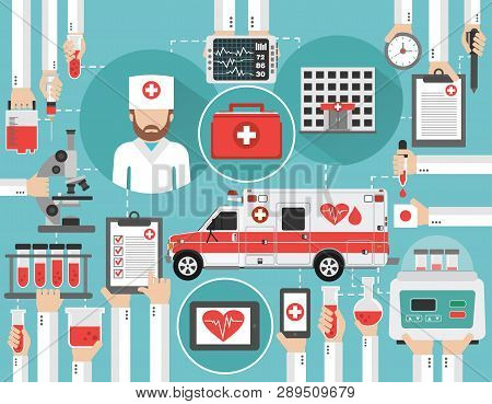 Medical Infographic Concept Flat With Mobile Station For Blood Transfusions And Blood Tests.vector I