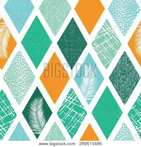 Contemporary Rhombus Shapes Collage Seamless Vector Pattern. Modern Abstract Tropical Summer Backgro
