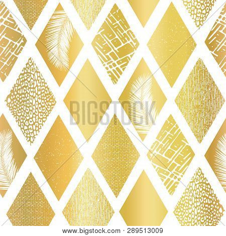 Gold Foil Collage Rhombus Shapes Seamless Vector Pattern. Contemporary Abstract Background Geometric