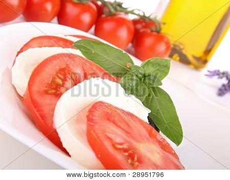 caprese salad, tomato, mozzarella and basil