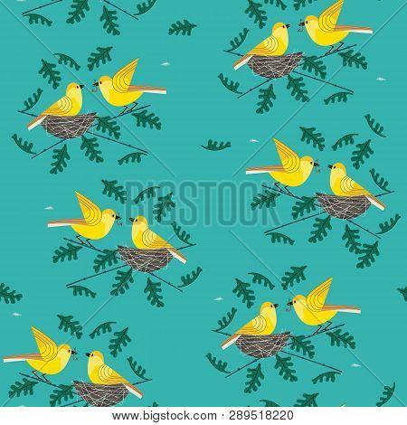 Hand Drawn Birds Seamless Pattern. Birdfiding Cartoon Design Element. Template Background For Textil