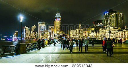 Urban Night Scene At The Bund, Shanghai, China