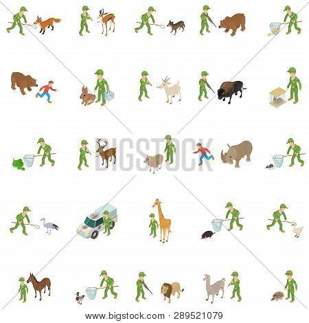 Capture Wild Animal Icons Set. Isometric Set Of 25 Capture Wild Animal Of Past Vector Icons For Web