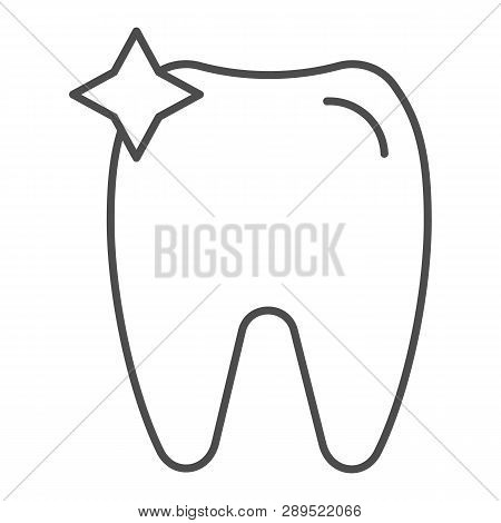 Tooth Thin Line Icon. Dent Vector Illustration Isolated On White. Dentistry Outline Style Design, De
