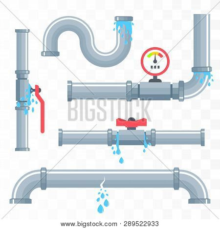 Leaking Pipes. Broken Pipeline Isolated On White. Vector Illustration