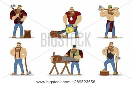 Set Of Lumberjacks Brutal Bearded Mans In Red Checkered Shirt With Axe In Hands. Woodcutters. Hiking