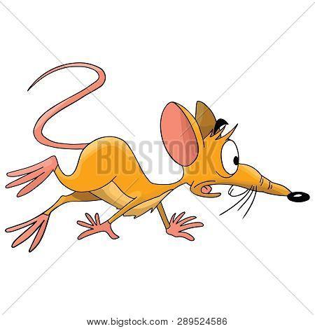 Scared Cartoon Mouse Prepared To Escape Vector Illustration