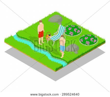 Outing Concept Banner. Isometric Banner Of Outing Vector Concept For Web, Giftcard And Postcard