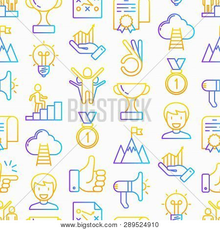 Success Seamless Pattern With Thin Line Icons: Trophy, Idea, Mountain Peak, Career, Bullhorn, Strate
