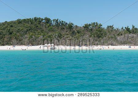 Many People Enjoying Beautiful Whitehaven Beach On Hamilton Island, Australia