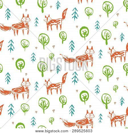 Childish Seamless Pattern With Cute Sketchy Orange Foxes In Forest With Firs And Mushrooms. Childish