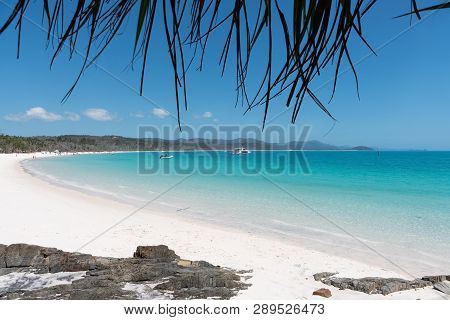 Beautiful White Beach And Turqoise Water Of Whitehaven Beach In The Whitsundays