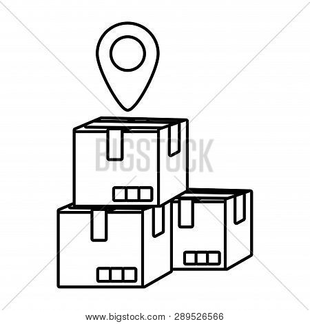 Delivery Service Boxes With Gps Location Cartoon Vector Illustration Graphic Design