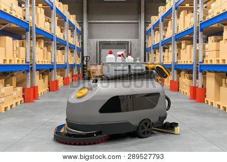 Floor Scrubber Dryer On Warehouse, 3d Rendering