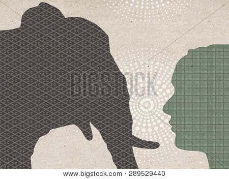 Profile drawn silhouettes - Elephant with Human