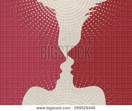 Profile drawn silhouettes - Loving Women couple